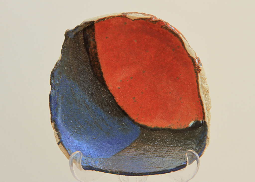 small blue and red plate